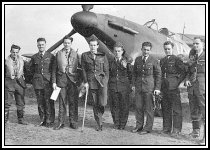 Pilots of 85 Squadron. S/L Peter Townsend is with cane