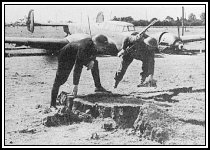 The army inspect a bomb crater. A Bf110 is in the background