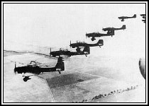 A formation of Junkers Ju87s flying into an uncertain future