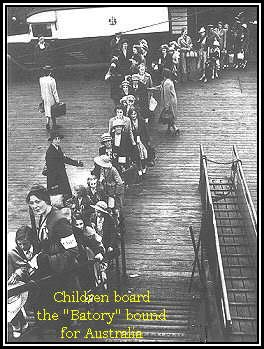 Children board the liner Batory bound for Australia